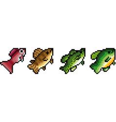 set of pixel fish vector image