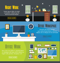 set of three horizontal office workspace banners vector image