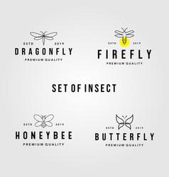 set vintage line art insect logo vector image
