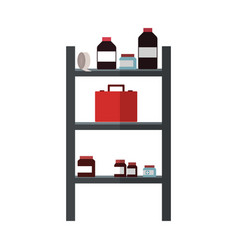 Shelves with medical supplies vector