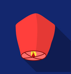Sky lantern icon in flat style isolated on white vector