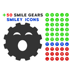 Sleepy smiley gear icon with bonus emotion set vector