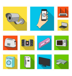 smart home appliances flat icons in set collection vector image