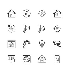 smart house icon set in thin line style vector image