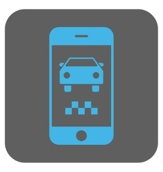 Smartphone taxi car rounded square icon vector