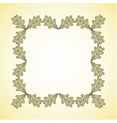 Square frame of oak leaves vector