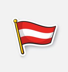 Sticker flag austria on flagstaff vector