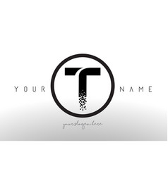 T logo letter with digital pixel tech design vector