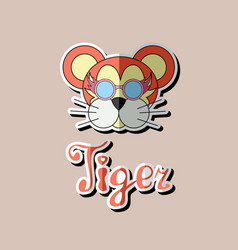 tiger head sticker flat icon tiger vector image