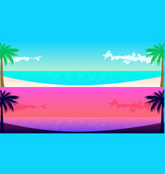 two sea shore panoramas with palm trees for web vector image