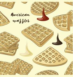 Various american waffles pattern vector
