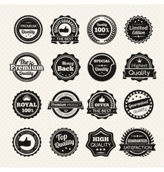 Vintage premium quality black and white badges vector