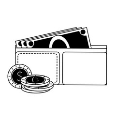 wallet with cash in black and white vector image