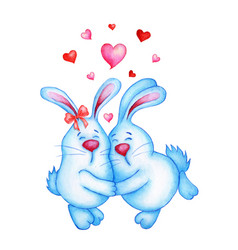 Watercolor two cute blue rabbits are in love vector