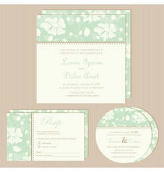 wedding invitation set green vector image