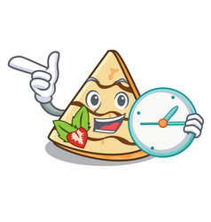 With clock crepe character cartoon style vector