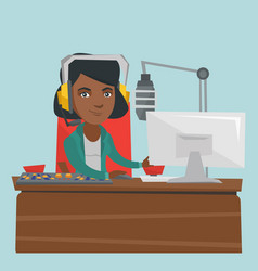 Young female african-american dj working on radio vector