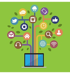 Computer with social media icons vector image vector image