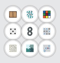 Flat icon play set of backgammon xo dice and vector