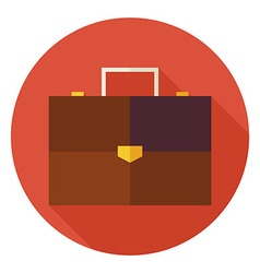 Flat Office Business Briefcase Circle Icon with vector image