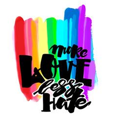 More love less hategay pride lettering vector