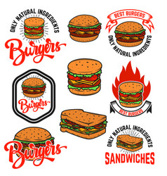 set of burgers and sandwiches emblems isolated on vector image