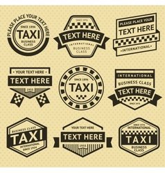 Taxi labels set vintage style vector image vector image