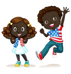 African American boy and girl vector image vector image