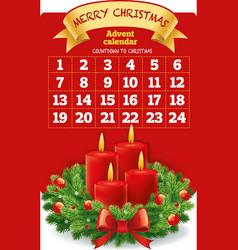 Christmas advent calendar with wreath candles vector