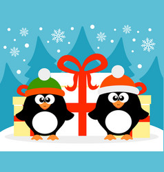 happy new year card with penguin santa claus and vector image vector image