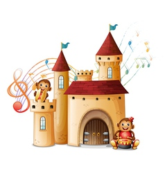 Monkeys in the castle vector image
