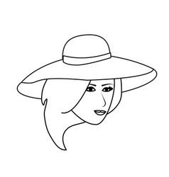 pretty happy woman wearing big sun hat icon image vector image vector image