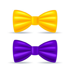 realistic drawing solemn bow tie yellow and vector image