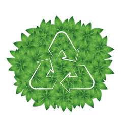 recycling symbol on a background of green leaves vector image vector image