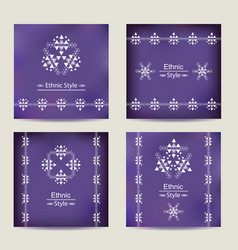 set of four ultra violet cards with ethnic design vector image vector image
