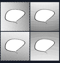 set of retro style speech bubble pop art vector image