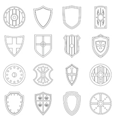 Shield frames icons set outline style vector image vector image