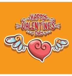 valentines day cartoon style heart label vector image vector image