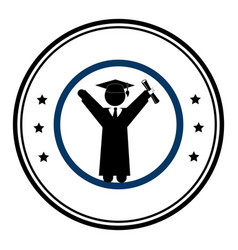 circular emblem with man with graduation outfit vector image