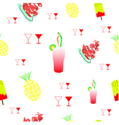 Tileable texture with summer fruits and drinks vector