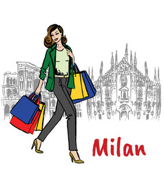woman and milan cathedral vector image vector image