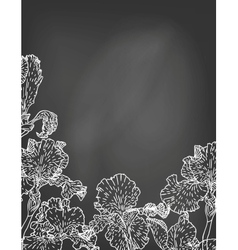 Card with hand drawn iris flowers on chalkboard vector image