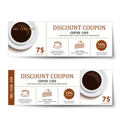 coffee coupon discount template design vector image vector image