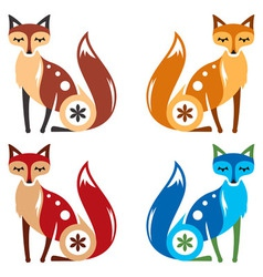 Fox Four Color vector image vector image