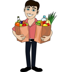 man with food vector image vector image