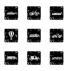 Movement on machine icons set grunge style vector