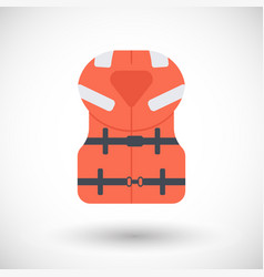 offshore life jacket flat icon vector image vector image