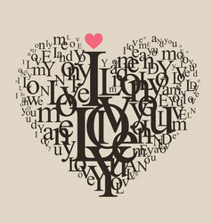typography heart vector image vector image