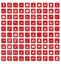 100 space icons set grunge red vector image