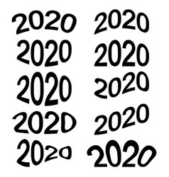 2020 year date cartoon numbers comic style vector image